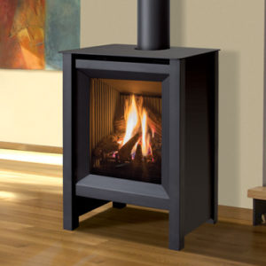 Freestanding gas stove with fire