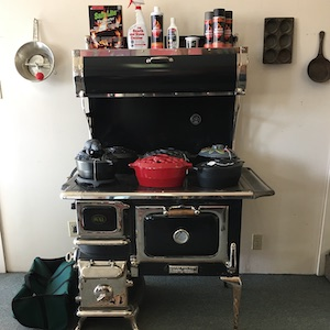Wood stove with cleaners and accessories